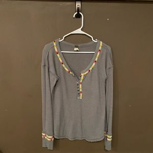 Free People Rainbow Thermal Henley